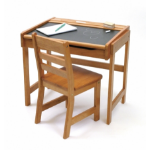 Lipper Child Chalkbrd Dsk Chair Pecan