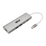 Tripp Lite USB-C Docking Station, 4K @ 30 Hz, HDMI, Thunderbolt 3, PD Charging, Micro SD – Silver