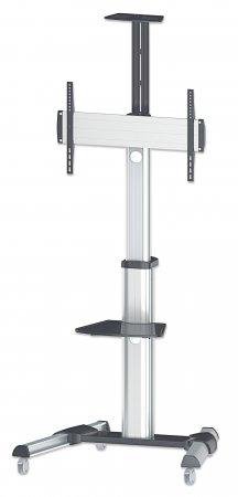 "Manhattan Mobile Monitor Floor Stand, 1 screen, 37-70"", Vesa 200x200 to 600x400mm, Max 50kg, Silver"