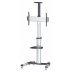 "Manhattan Mobile Monitor Floor Stand, 1 screen, 37-70"", Vesa 200x200 to 600x400mm, Max 50kg, Silver"