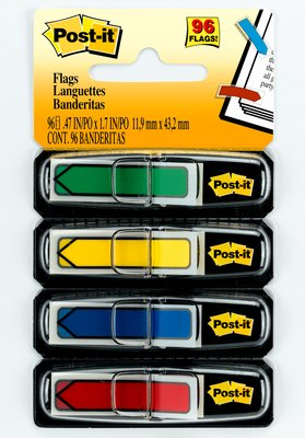 Post-It Arrow Flags, Primary Colors, 1/2 in Wide, 24/Dispenser, 4 Disp/Pack self adhesive flags 24 sheets