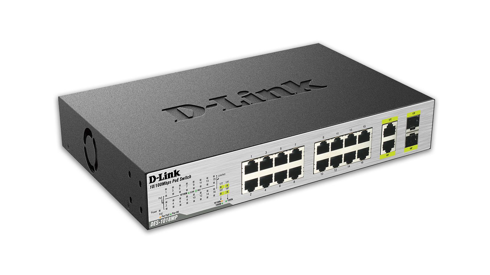 D-Link DES-1018MP switch No administrado Fast Ethernet (10/100) Negro Energía sobre Ethernet (PoE)