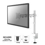 """Newstar Full Motion Desk Mount (clamp & grommet) for 10-30"""" Monitor Screen, Height Adjustable - Silver"""