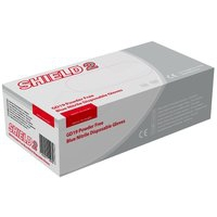SHIELD BLUE PF NITRILE GLOVES S PK100
