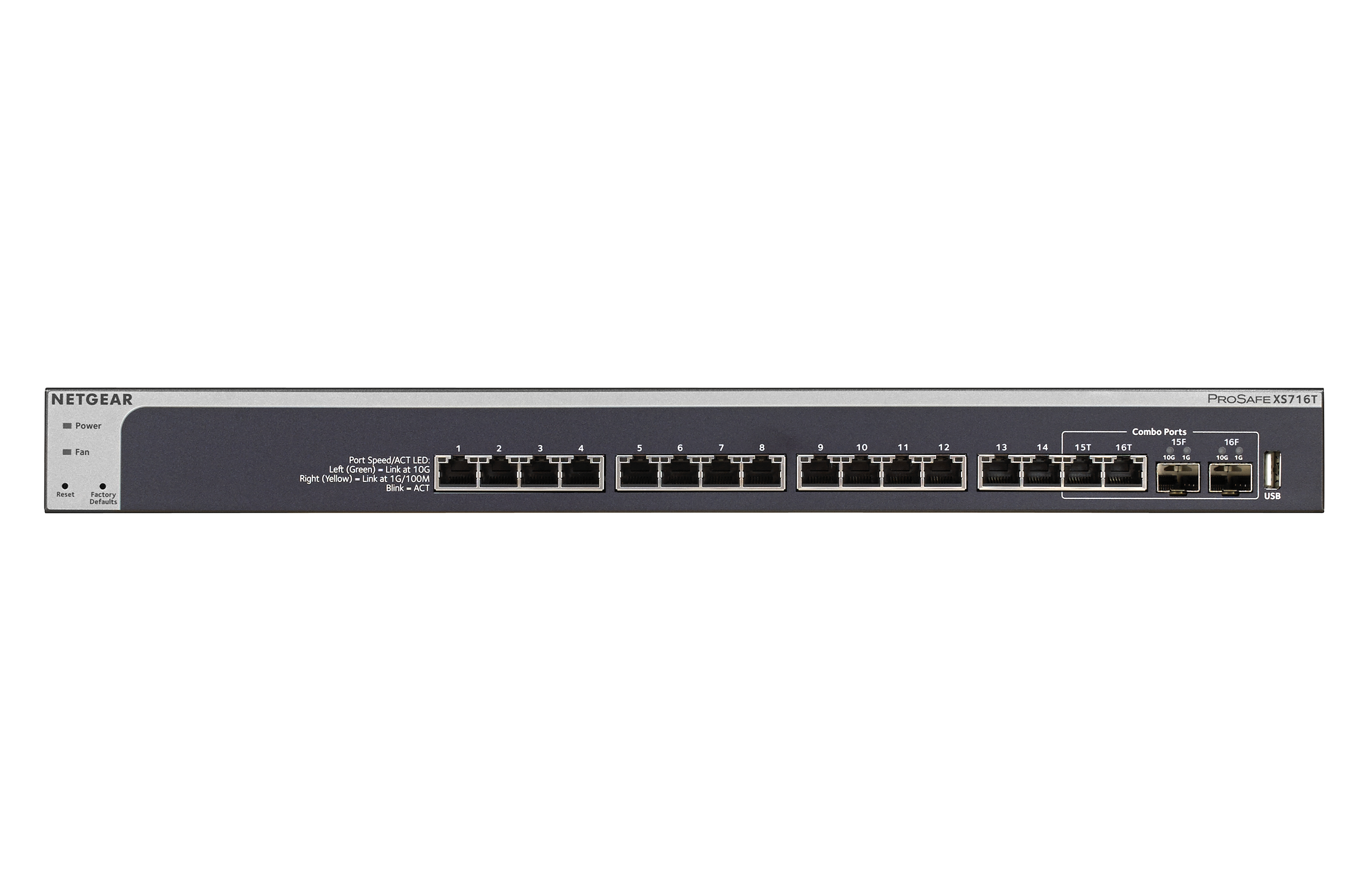 Netgear XS716T Managed L2/L3 10G Ethernet (100/1000/10000) Black