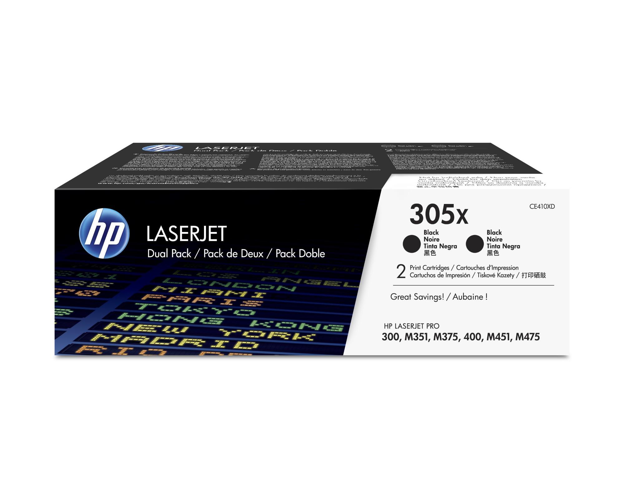 HP 305X Origineel Zwart 2 stuk(s)