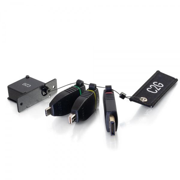 C2G Anillo de adaptadores HDMI[R] 4K con soporte para caja de mesa retráctil con Mini DisplayPort[TM], DisplayPort y USB-C[R] codificados por colores