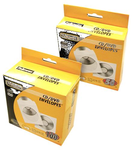Fellowes CD Paper Envelopes 50 Pack/ White