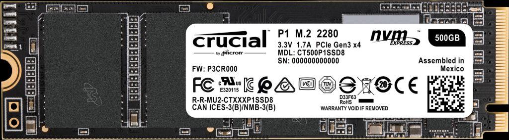 CRUCIAL P1 M.2 500 GB PCI EXPRESS 3.0 NVME