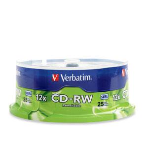 Verbatim CD-RW 80MIN 700MB 4X-12X High Speed Branded 25pk Spindle CD-RW 700MB 25pc(s)