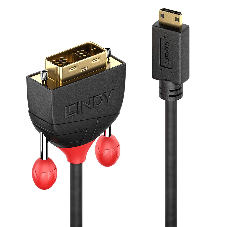 Lindy 36282 video cable adapter 2 m HDMI Type C (Mini) DVI-D Black