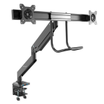 "StarTech.com Desk Mount Dual Monitor Arm with USB & Audio - Slim Full Motion Adjustable Dual Monitor VESA Mount for up to 32"" Displays - Ergonomic Articulating - C-Clamp/Grommet"