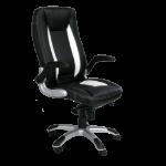 Eliza Tinsley Friesian Hi Bck Exec Chair With Satin Chrome Base BK & WT DD
