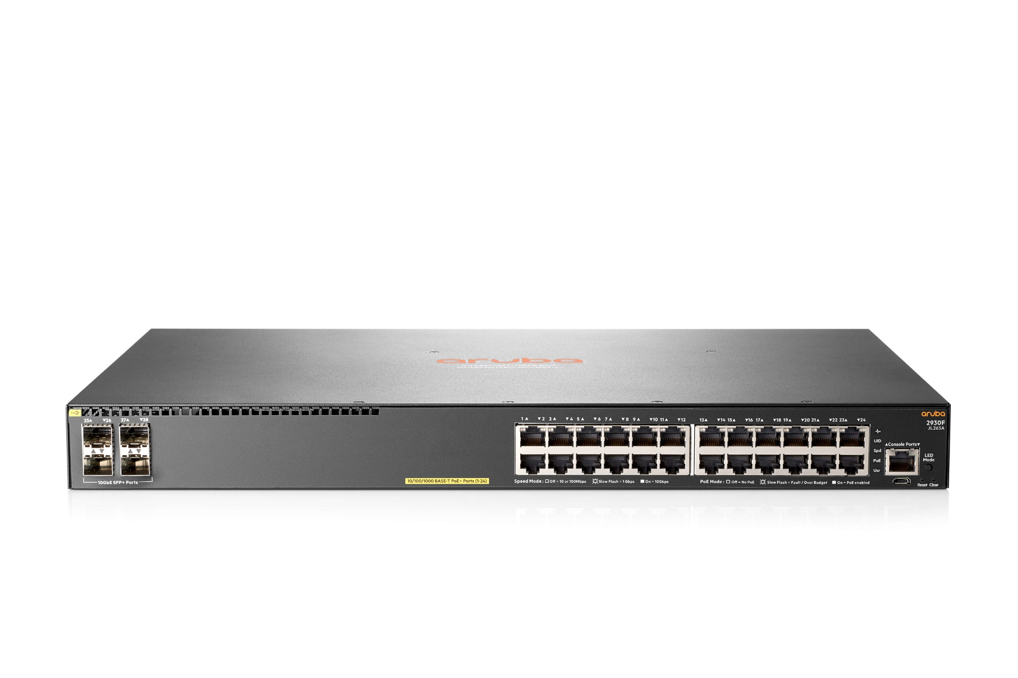 Hewlett Packard Enterprise Aruba 2930F 24G PoE+ 4SFP+ TAA Managed network switch L3 Gigabit Ethernet (10/100/1000) Power over Ethernet (PoE) 1U Grey