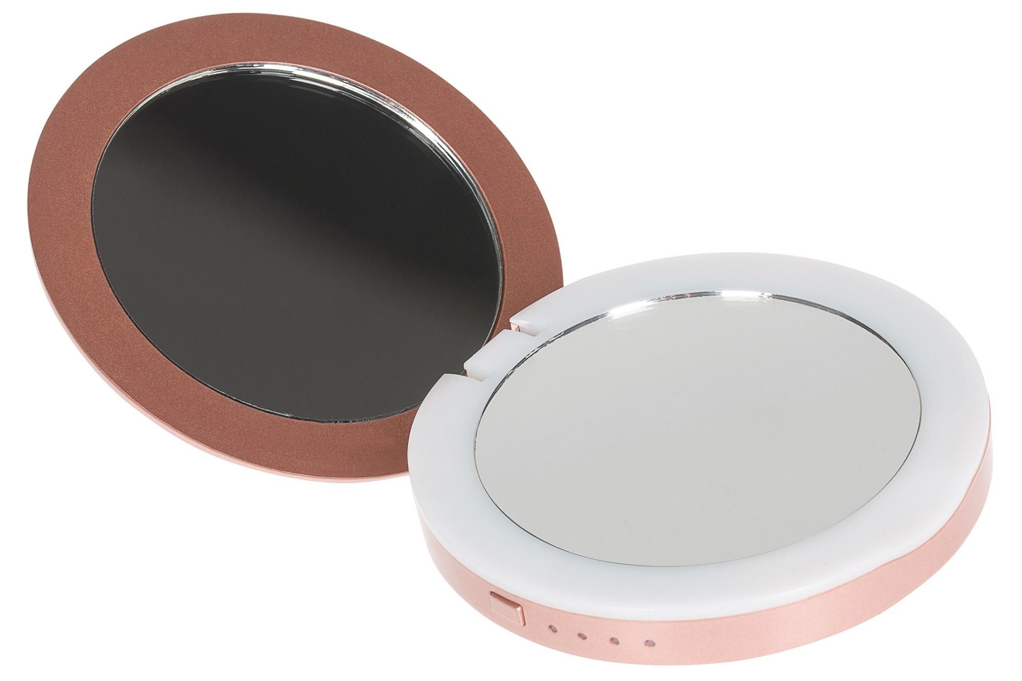 STATUS Compact Mirror 3000mAh Portable Power Bank with LED Illumination - Rose Gold