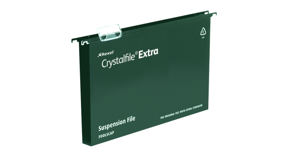 Rexel Crystalfile Extra A4 Suspension File 30mm Green 25