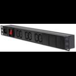 LMS MODULAR- 1U 6 WAY Vertical IEC 10A PDU + SWITCH