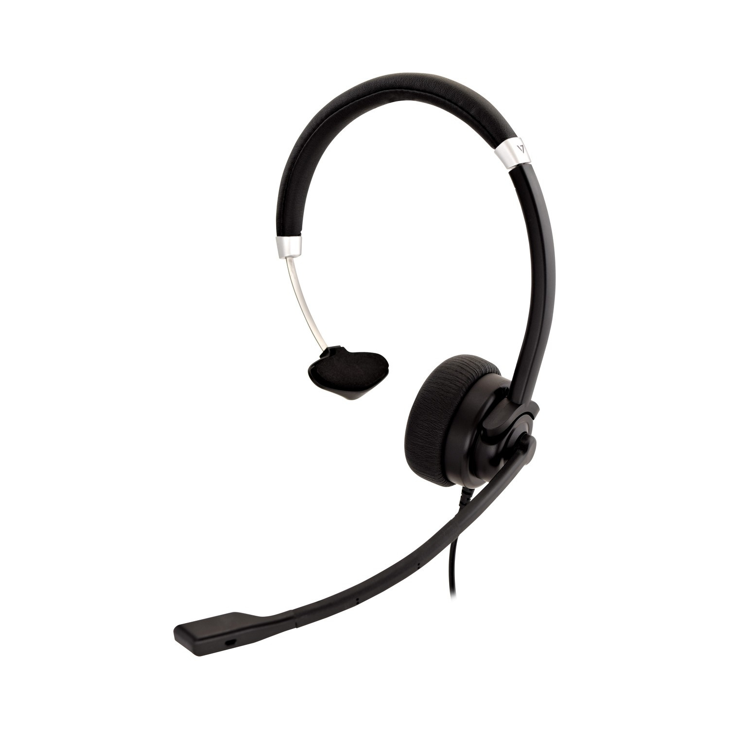 V7 Deluxe Mono Headset, boom mic, Adjustable Headband for PC, Mac, Laptop Computer, Chromebook, Black, 3.5mm connector