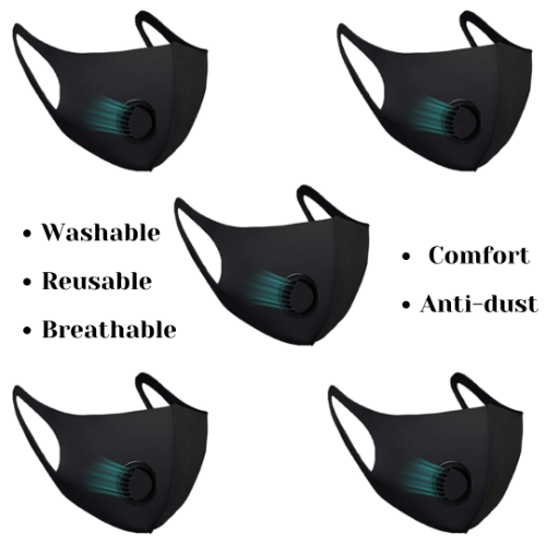 Rapteq 5PC Black Elastic Cotton Face Mask Washable and Reusable with Exhalation Valve