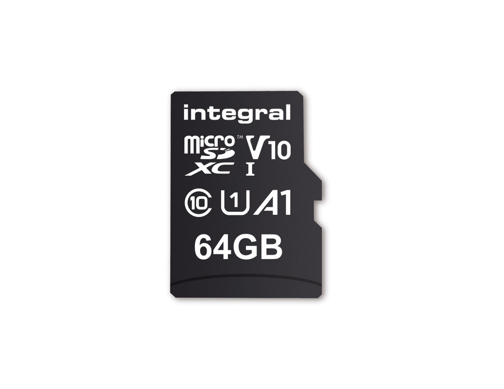 Integral 64GB MICRO SD CARD MICROSDXC UHS-1 U1 CL10 V10 A1 UP TO 100MBS READ