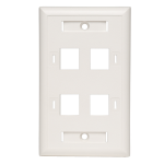 Tripp Lite 4-Port Quad Outlet RJ45 Universal Keystone Face Plate / Wall Plate, White