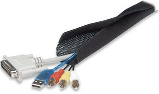 Manhattan FlexWrap Cable Tidy, 1.8m, Black, Tidies up and helps protect multiple cables, Easy open sides, Lifetime Warranty, Blister