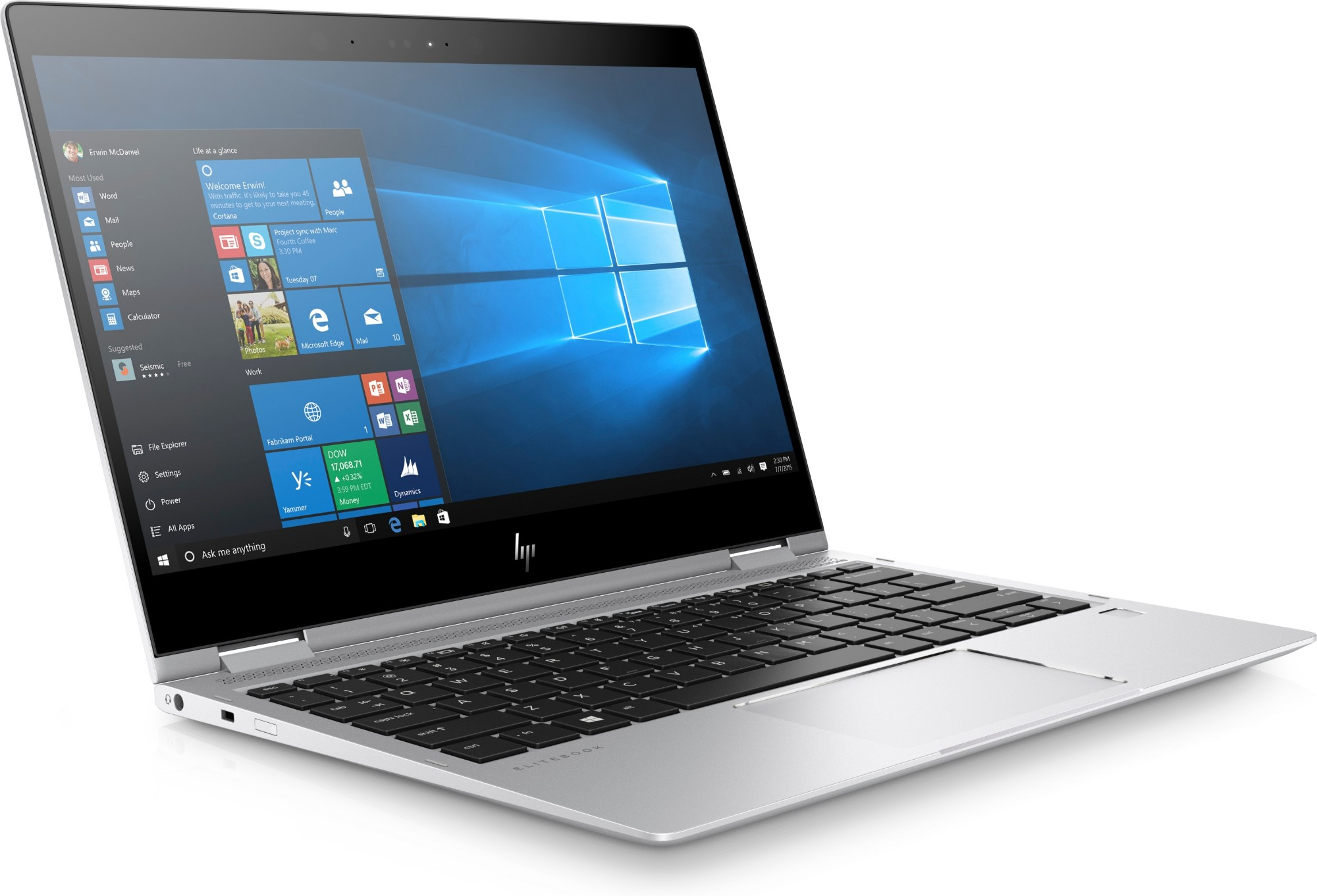 "HP EliteBook x360 1020 G2 Silver Notebook 31.8 cm (12.5"") 1920 x 1080 pixels Touchscreen 2.8 GHz 7th gen Intel® Core™ i7 i7-7600U"