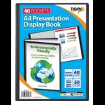 Tiger A4 Presentation Display Book Black 40 Pocket