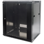 """Intellinet Network Cabinet, Wall Mount (Standard), 15U, 450mm Deep, Black, Flatpack, Max 60kg, Metal & Glass Door, Back Panel, Removeable Sides, Suitable also for use on a desk or floor, 19"""", Parts for wall installation not included, Three Year Warranty"""