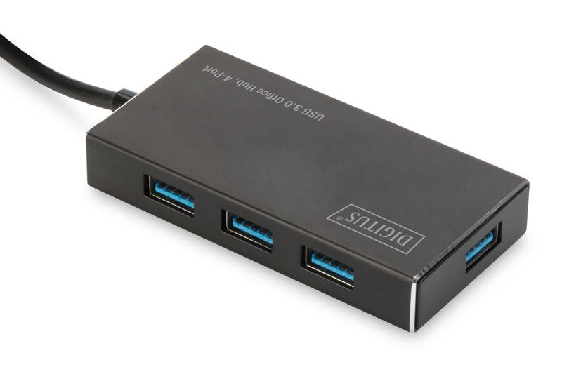 Digitus DA-70240-1 hub de interfaz USB 3.2 Gen 1 (3.1 Gen 1) Type-A 5000 Mbit/s Negro