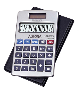 Aurora HC208TX calculator Pocket Basic Silver