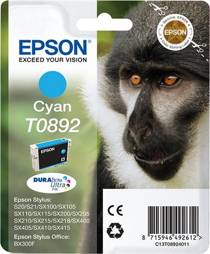 Epson Monkey Singlepack Cyan T0892 DURABrite Ultra Ink