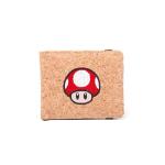 Nintendo Super Mario Bros. Red Mushroom Bi-fold Cork Wallet, Red (MW120205NTN)