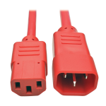 Tripp Lite Heavy-Duty Power Extension Cord, 15A, 14 AWG (IEC-320-C14 to IEC-320-C13), Red, 1.83 m