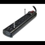 """Weltron WSP-600PLF-15BK surge protector Black 6 AC outlet(s) 125 V 181.1"""" (4.6 m)"""