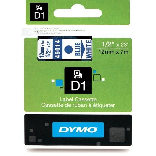 D1 Standard Tape Blue On White 12mmx7m