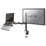 """Newstar Full Motion and Desk Mount (clamp) for 10-27"""" Monitor Screen AND Laptop, Height Adjustable - Black"""