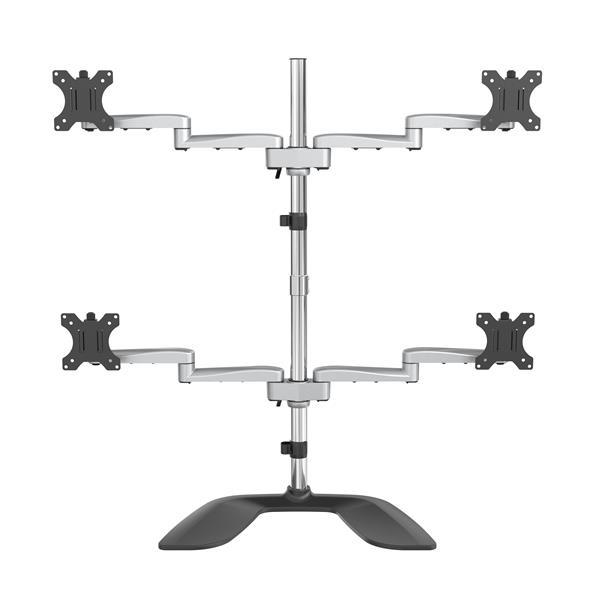 StarTech.com Quad-Monitor Stand - Articulating - Steel & Aluminum