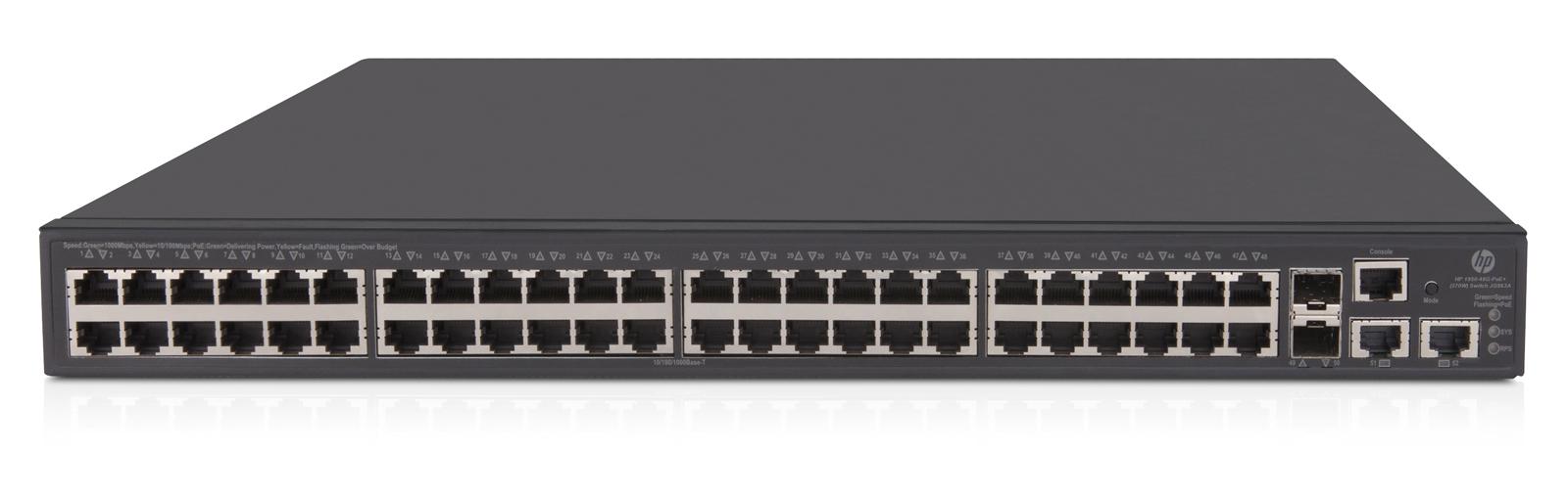 Hewlett Packard Enterprise OfficeConnect 1950 48G 2SFP+ 2XGT PoE+ Gestionado L3 Gigabit Ethernet (10/100/1000) Gris 1U Energía sobre Ethernet (PoE)