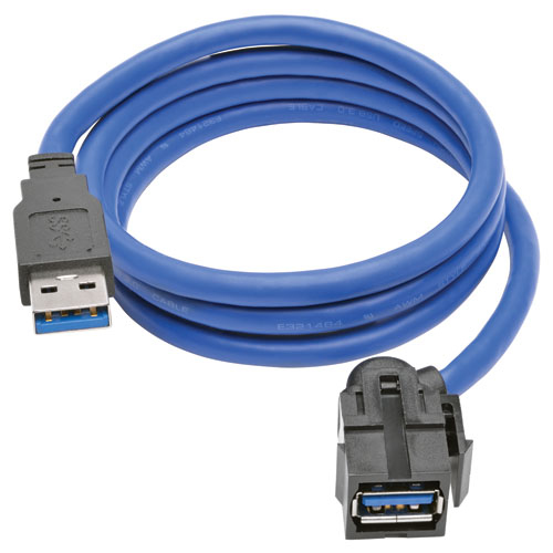 Tripp Lite USB 3.0 SuperSpeed Keystone Jack Type-A Extension Cable (M/F), 0.91 m (3-ft.)
