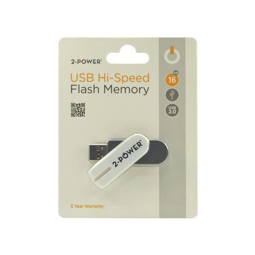 2-Power 16GB USB 2.0 Flash Drive White/Grey