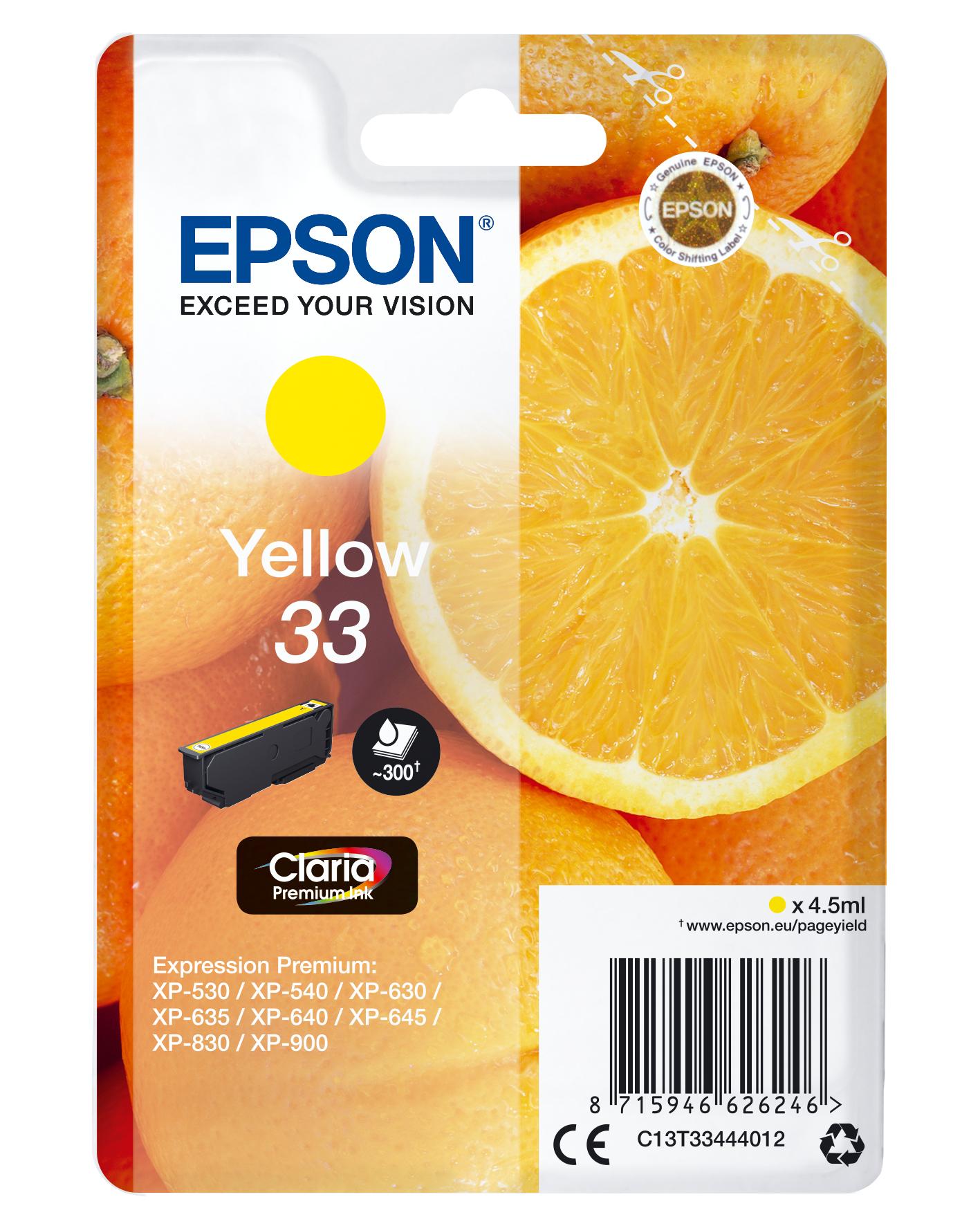 Epson Oranges Singlepack Yellow 33 Claria Premium Ink