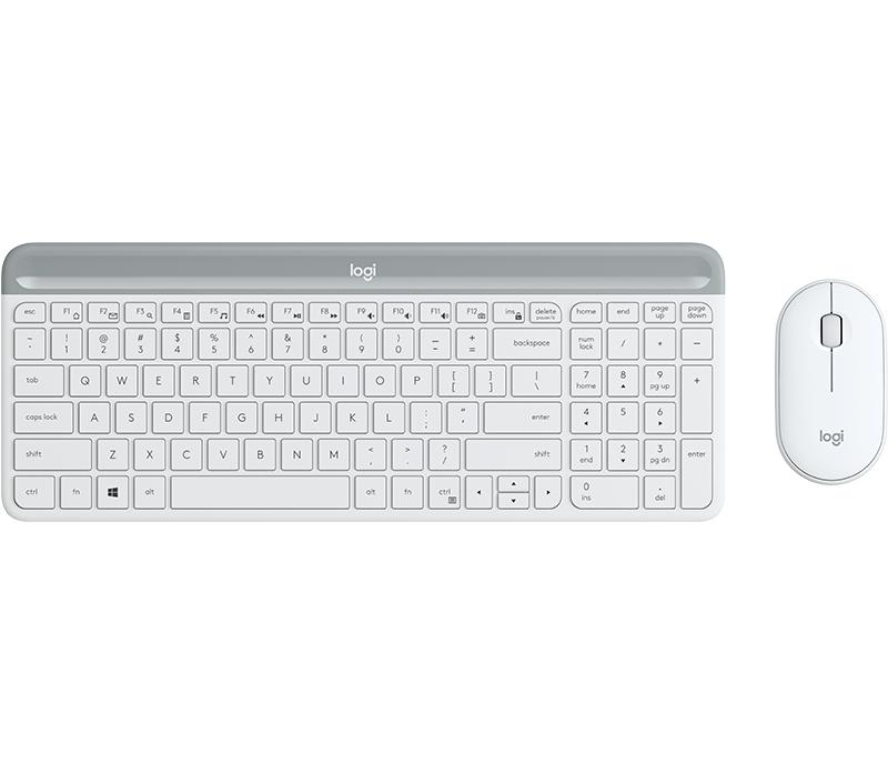Logitech MK470 Slim Wireless Combo teclado RF inalámbrico QWERTY Danés, Finlandés, Noruego, Sueco Plata, Blanco