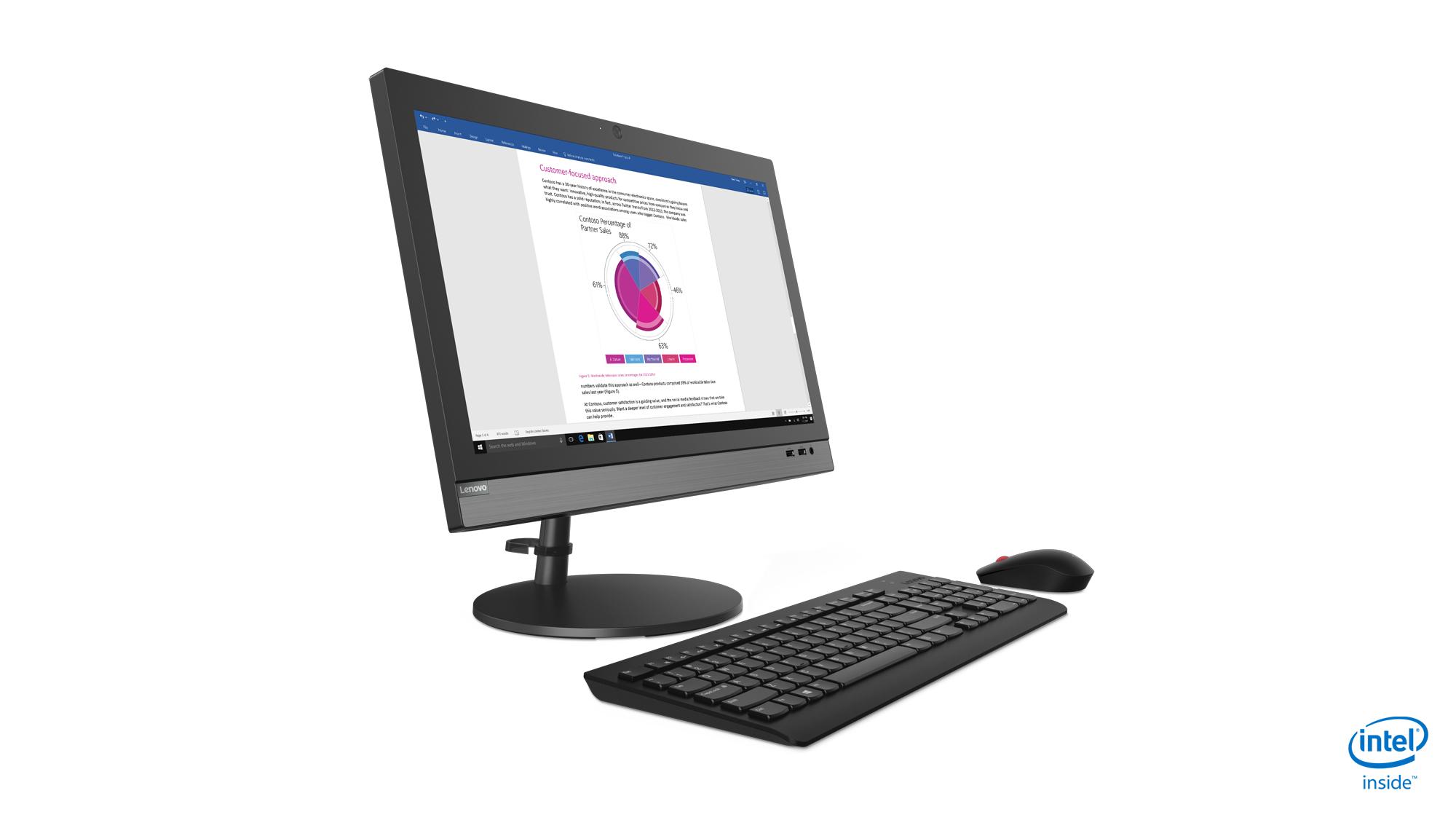 "Lenovo V330 49.5 cm (19.5"") 1600 x 900 pixels 8th gen Intel® Core™ i5 8 GB DDR4-SDRAM 256 GB SSD All-in-One PC Windows 10 Pro Wi-Fi 5 (802.11ac) Black"
