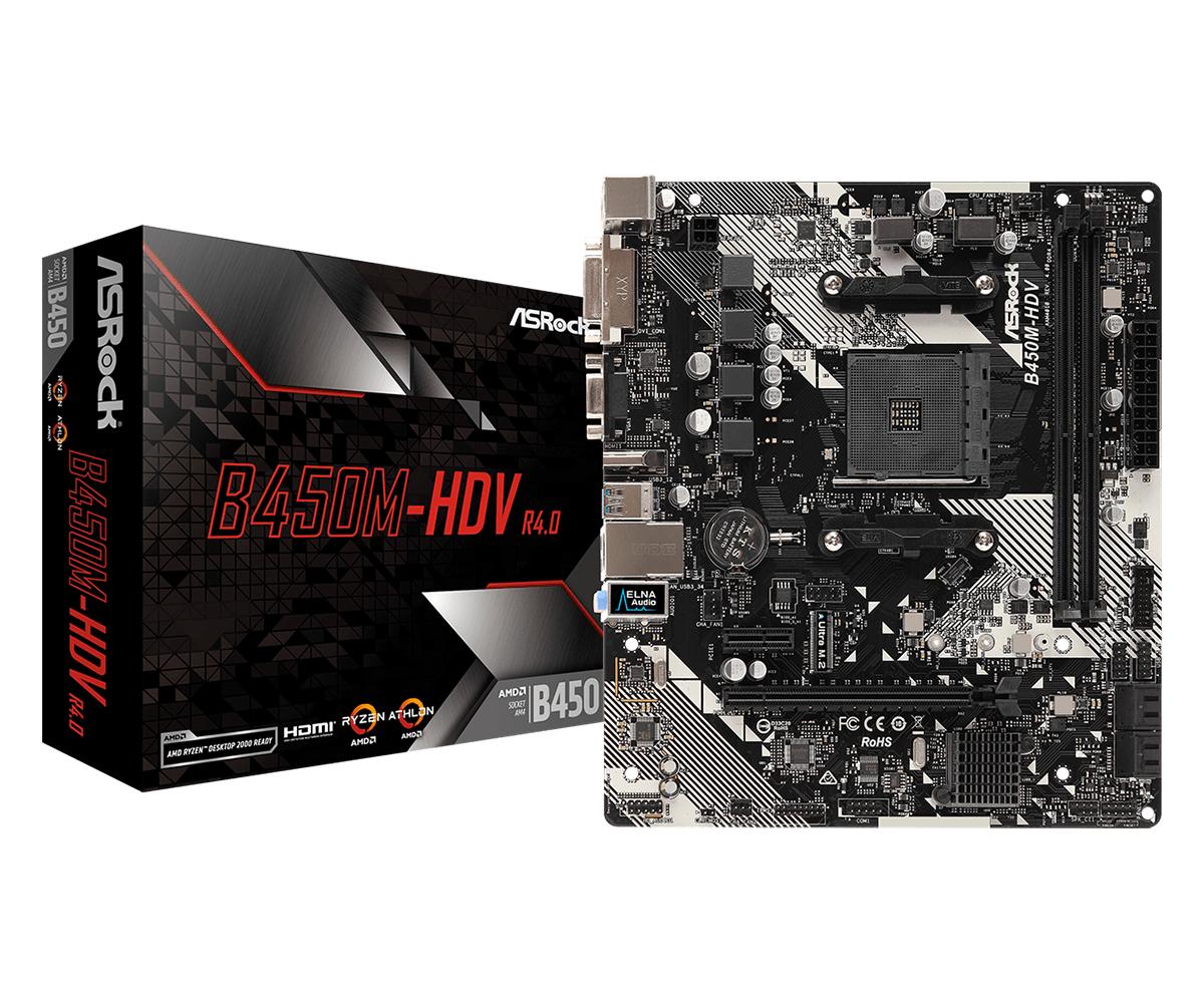 Asrock B450M-HDV R4.0 AMD B450 Socket AM4 micro ATX