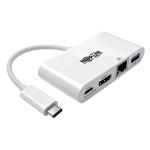 Tripp Lite USB Type-C (USB-C) to HDMI External Video Adapter with USB-A Hub, USB-C PD Charging, & Gigabit Ethernet Ports, 1920 x 1080 (1080p)