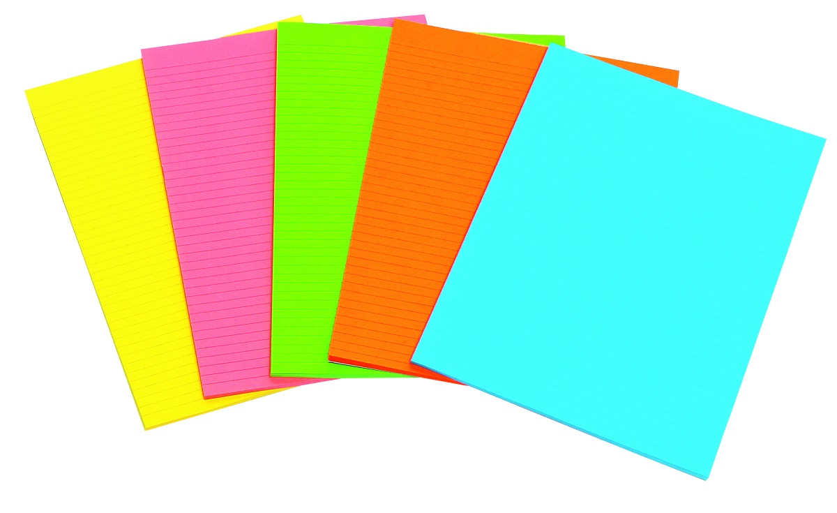 ACCO OFFICE PADS ACCO A4 FLURO 40LF 5 ASSORTED COLORS(PK10)