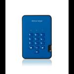 iStorage diskAshur2 256-bit 256GB USB 3.1 secure encrypted solid-state drive - Blue IS-DA2-256-SSD-256-BE