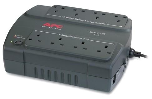APC Back-UPS 400, UK uninterruptible power supply (UPS) Standby (Offline) 400 VA 240 W 8 AC outlet(s)