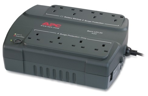 APC Back-UPS 400, UK uninterruptible power supply (UPS) Standby (Offline) 400 VA 240 W 8 AC outlet(s)